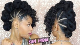 Hey everyone! It's natural hair tutorial time! Today I'm showing how to get a super dope bun hawk updo style. It's a fierce edgy look that also keeps your ha...