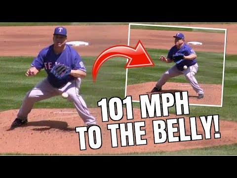 Bartolo Colon 101 MPH Comebacker To His Belly.. But Still Gets The Out (Big Sexy)