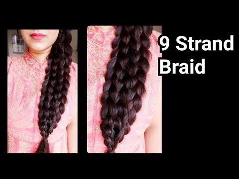 Braid hairstyles - कैसे बनाएं 9 Strand Braid बिलकुल  आसानी से //Indian Braid Hairstyle for long hair