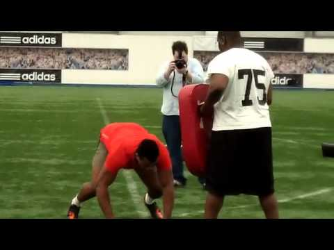 NFL Combine - Great Britain Olympic DiscusThrower Lawrence Okoye recreates disciplines (in London) from the NFL Combine as he sets his sights on playing professional footb...