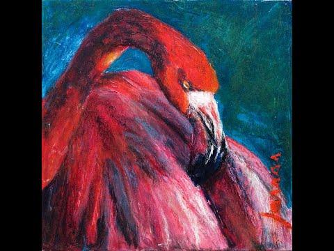 Flamingo – acrylic and pastel painting – Malen mit Acryl und Pastellkreiden