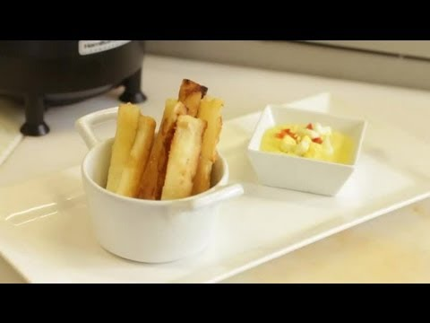 South American Dish: Fried Yucca with Cheese Sauce Dip – Peruvian Style