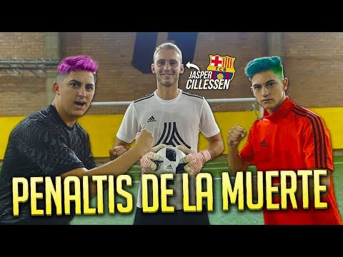 ¡PENALTIS contra EL PORTERO del FC BARCELONA! *El que pierda se tiñe el pelo*