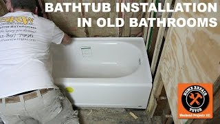 Learn how to install a bathtub in old bathrooms with our video.Visit https://www.homerepairtutor.com/bathtub-replacement/ Installing a bathtub in older homes can be a pain. This video shares how to set the tub in mortar, level it, add the plumbing, and get all the shower walls plumb for cement board.We share a lot of tips you won't see in books or other videos. This tutorial is great for homes older than dirt.If you want to learn how to install an acrylic tub you're in the right place. This video walks you through our Kohler Archer bathtub installation. Here's what you'll see-how to install the tub drain -how to access and setup bathtub plumbing-how to set a tub in mortar-how to level the bathtub-how to secure the tub to stud framingThis is a pretty darn good tutorial. If you have any questions please ask them in the comments. We'd be happy to help.This video is a great example of what we do over on Bathroom Repair Tutor. If you're doing a DIY bathroom remodel we encourage you to check it out at http://www.bathroomrepairtutor.com/Watch our video for all the detailshttps://youtu.be/Axe2j4QrJCE