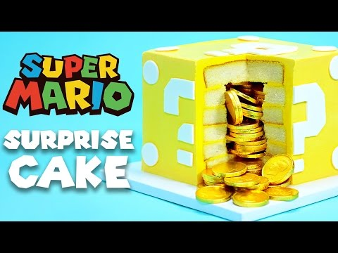 How To Make A Mario Question Block Cake Filled With Gold