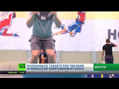 Russian alpine skiers train for Sochi Olympics