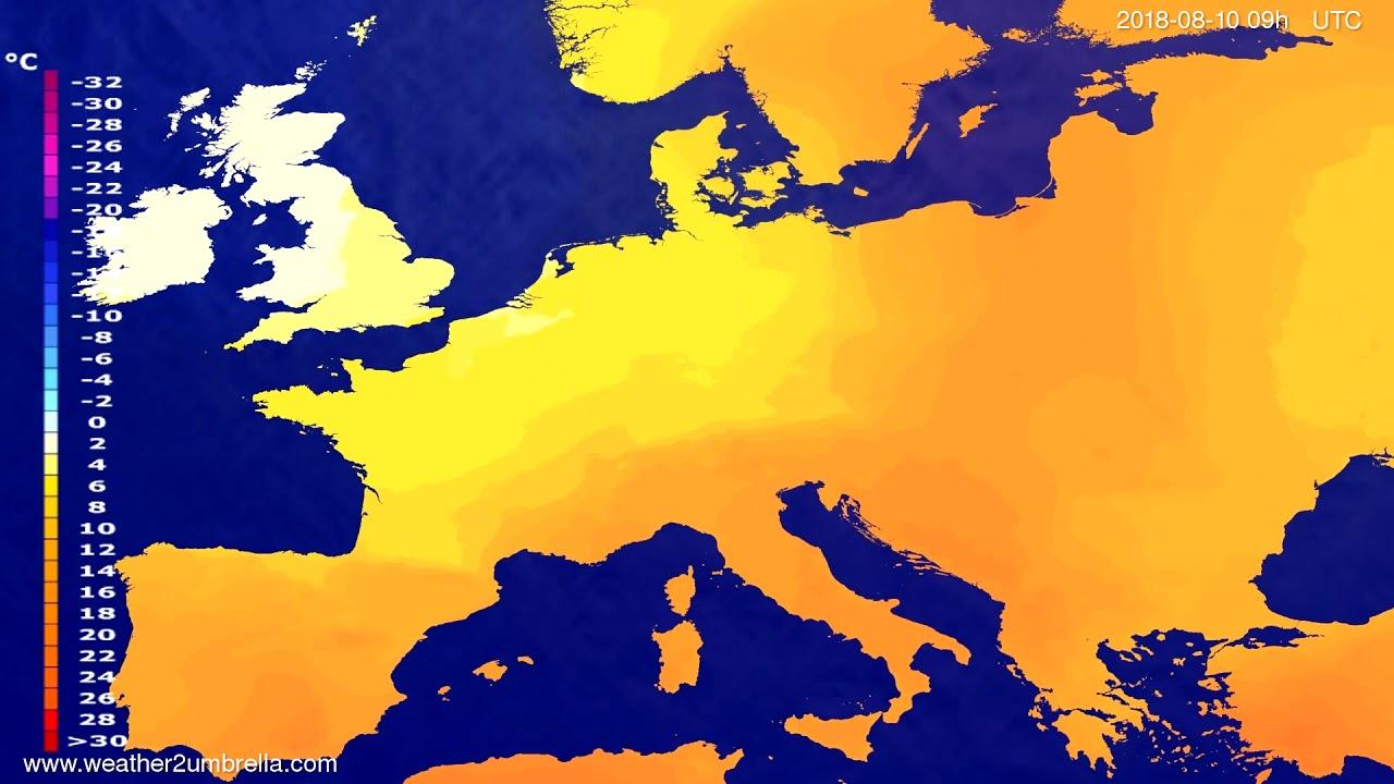 Temperature forecast Europe 2018-08-08