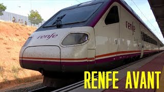 RENFE AVANT Train 104 series arrives at the station 4K   High-speed railway in Spain
