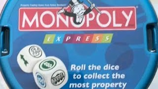 "A review on how to play the dice game Monopoly Express. This game is a reprint of Don't Go To Jail, which was released in 1991.Don't Go to Jail is a dice game derived from Monopoly. The game board depicts the monopolies found in the original game, with the property groups color-coded as in Monopoly. Each property group has a given dollar value, which you can collect by rolling the dice and collecting that group.On a turn, you roll ten dice, set aside any die reading ""Go,"" ""to"" or ""jail"", then set aside any color group dice that you wish. If the ""Go,"" ""to"" and ""jail"" dice are set aside, your turn ends immediately, and you score nothing. Otherwise you can choose to either (1) stop and score for what you've rolled or (2) roll again with any dice not set aside, once again setting aside the ""Go,"" ""to"" or ""jail"" dice, etc. The dice have a couple of ""Wild"" faces, and you can use at most one Wild in a color group. (If you roll the proper color, you can replace a Wild die in a group and roll that die again on a later turn.)If you stop, you score for all completed color groups and one incomplete color group. Your goal is to be the first player to reach a predetermined dollar amount or to have the most money at the end of a pre-set number of turns.Monopoly Express – an updated version of this game that was first released in the UK and Europe, then later in the U.S. – alters the gameplay as follows:The policeman from the ""Go To Jail"" corner of the board game replaces the words ""Go,"" ""to"" and ""jail"".One blank face on one of the policeman dice depicts a green ""GO"" arrow. A player earns $200 each time he rolls GO, but he loses this money if he busts due to policemen.The game includes an eleventh ""House/Hotel"" die that can earn (or lose) a player Houses (worth $1,000 each), earn Hotels (worth $5,000, but only if a player has already earned four houses) and a ""Get Out Of Jail Free"" side that negates a policeman (including a policeman that would bust a player). This die cannot be rolled until a player completes a property group (i.e., neither railroads nor utilities).The Wild faces are replaced by the Chance ""?"" logo; the ? act as a Wild, but unlike a Wild it cannot be replaced.The first player to have at least $15,000 wins immediately; players don't complete the round."