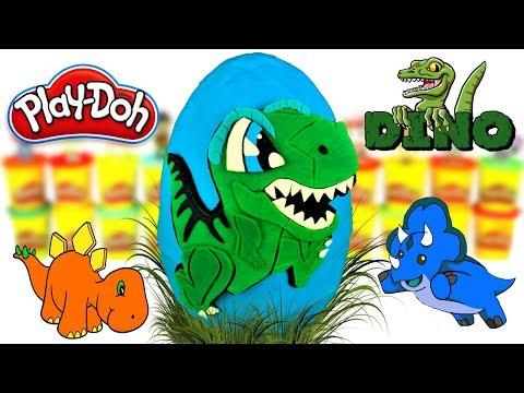 Huevo Sorpresa Gigante de Dinosaurio Bebe Tiranosaurio Rex Plastilina Play doh Español