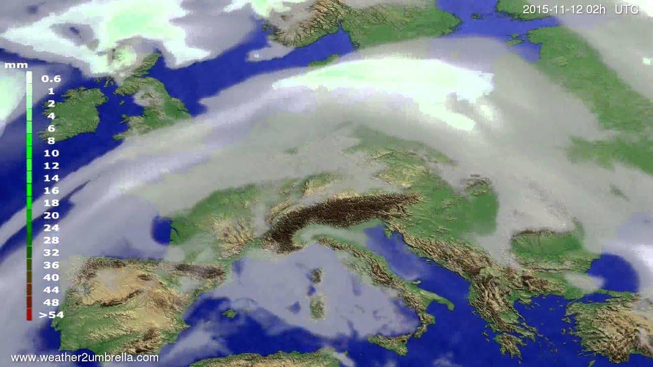 Precipitation forecast Europe 2015-11-08