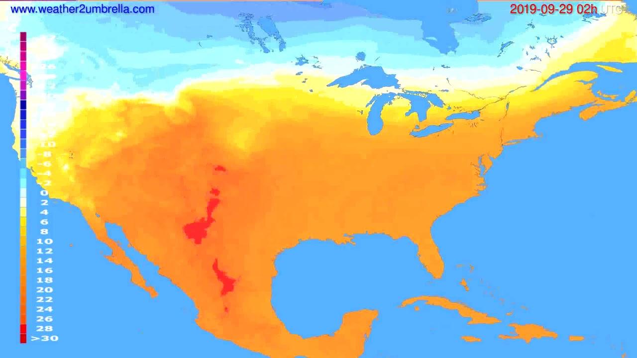 Temperature forecast USA & Canada // modelrun: 00h UTC 2019-09-27