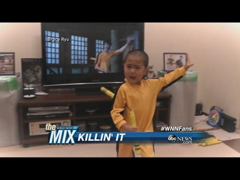 5-Year-Old Reenacts Bruce Lee's Nunchucks Fight Scene