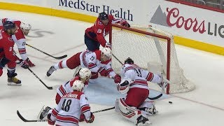 Brock McGinn lays out to sweep puck away late in 3rd period of Game 7 by NHL