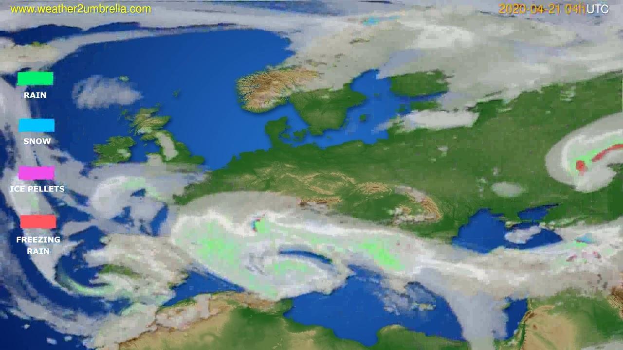 Precipitation forecast Europe // modelrun: 12h UTC 2020-04-20