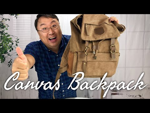 Rugged Vintage Style Canvas Rucksack Backpack for School by Smart ZZ Review