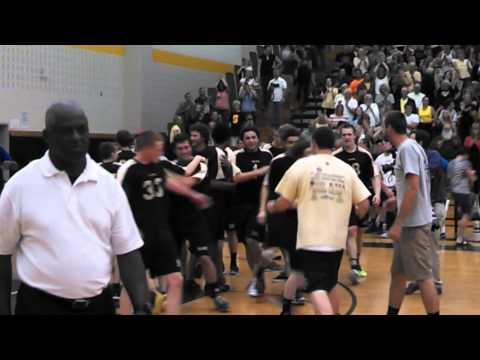 Final point and celebration from Southern Regional boys volleyball state championship victory.