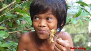 Primitive Technology - Eating delicious - Find and cooking Snail