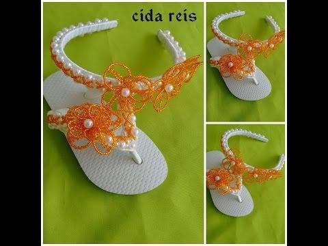 sandália customizada com pérolas flor da caatinga  kit kids