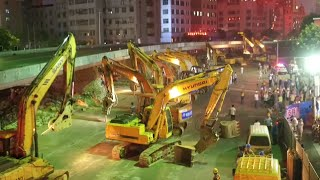 Nanchang China  city photo : 100 Plus Excavators Dismantle Overpass Bridge in East China