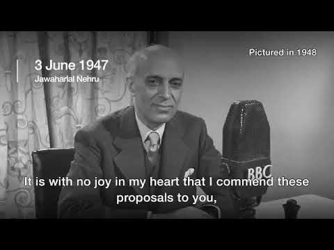Lord Mountbatten announces plan for partition of India in June 1947 (видео)