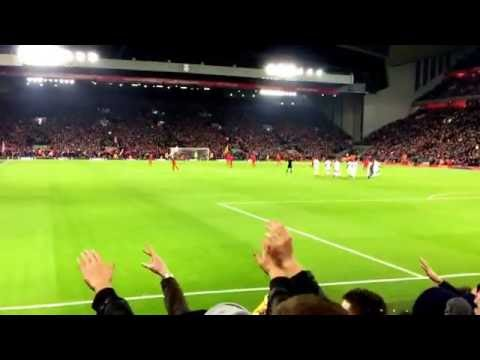 Leeds fans chanting loud at Anfield before Liverpool game kickoff