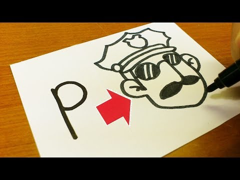 "Very Easy!How to turn Letter ""P"" into a Cartoon for kids - How to draw alphabets doodle art on paper"
