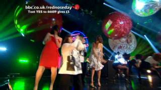 Top 10 UK songs on Red Nose Day 2009.Dawn, Jennifer, Davina and Claudia dancing!!Donate £5 NOW. Text YES to 66609