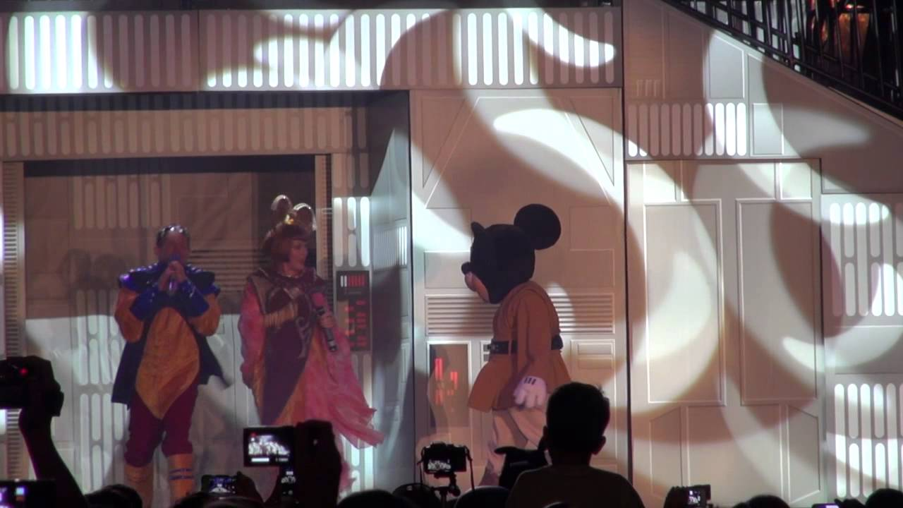 Jedi Mickey Mouse dances at Hyperspace Hoopla