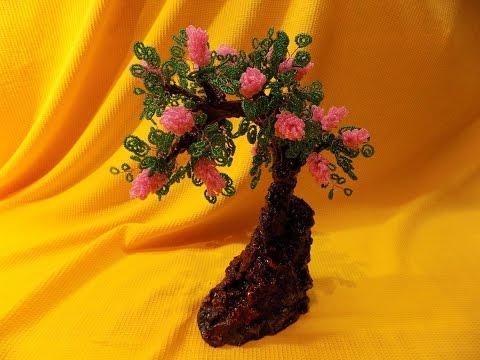Дерево на горе из бисера видео