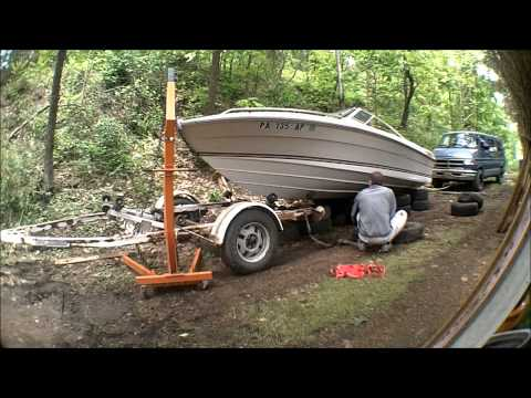 Boat - Removing 19' SeaRay Seville from its trailer. I built an enclosed trailer so stay tuned by subscribing for a walk around and a picture video of the build!