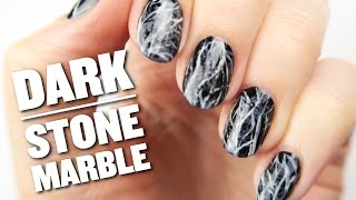 Dark Stone Marble Nail Art Design - YouTube