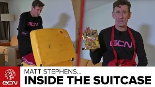 We've done plenty of interesting suitcase tours with Pro Riders over the years. Well here is what is inside the suitcase of GCN's very own Matt Stephens.Subscribe to GCN: http://gcn.eu/SubscribeToGCNGet exclusive GCN gear in the GCN shop! http://gcn.eu/fUWhat do you think of Matt's suitcase? Let us know in the comments below 👇Matt has had this suitcase since 2000! 17years on and it's still going strong. It is rammed full and includes plenty of contents.The contents include:GCN towelGCN JacketAssos Bib-ShortsAssos GiletAssos Sturmprintz jacketLaptopPacket of pringlesWash bagGCN Musette with SIS nutrition, including treatsOvershoesTopeak Multi-ToolExfoliating glovesheadphonesCharging cablesDi2 Chargerspare cleatsknee warmersSunglassesWahoo ELEMNTWahoo ELEMNT BOLTUndervestGlovesGCN T-ShirtsGCN Water BottleGCN Assos Training JerseyGCN Assos Training Bib-ShortsPink HairbrushSmart brogue shoesConverse trainersPink SlippersHairdrierfi'zi:k R1B Shoesfi'zi:k R1B Climb Edition ShoesKask Protone HelmetNot forgetting the famous combat shortsIf you'd like to contribute captions and video info in your language, here's the link 👍  http://gcn.eu/fVWatch more on GCN...What's Inside A Pro Cyclist's Suitcase? With Team BMC's Manuel Quinziato  📹  http://gcn.eu/MQsuitcaseWhat's In A Pro Cyclist's Suitcase? With Team Sky's Ian Boswell  📹 http://gcn.eu/bgMusic:Hip-Hop Jazzy CoolDNB - Medium Energy Swamp Ditty Photos: © Bettiniphoto / http://www.bettiniphoto.net/ & ©Tim De Waele / http://www.tdwsport.comAbout GCN:The Global Cycling Network puts you in the centre of the action: from the iconic climbs of Alpe D'Huez and Mont Ventoux to the cobbles of Flanders, everywhere there is road or pavé, world-class racing and pro riders, we will be there bringing you action, analysis and unparalleled access every week, every month, and every year. We show you how to be a better cyclist with our bike maintenance videos, tips for improving your cycling, cycling top tens, and not forgetting the weekly GCN Show. Join us on YouTube's biggest and best cycling channel to get closer to the action and improve your riding!Welcome to the Global Cycling Network  Inside cyclingThanks to our sponsors:Alta Badia:http://gcn.eu/AltaBadia- // Maratona Dles Dolomites: http://gcn.eu/MaratonaDlesDolomites-Assos of Switzerland: http://gcn.eu/AssosKASK helmets: http://gcn.eu/KASKfi'zi:k shoes and saddles: http://gcn.eu/fizikshoes and http://gcn.eu/fiziksaddlesTopeak tools: http://gcn.eu/TopeakCanyon bikes: http://gcn.eu/-CanyonQuarq: http://gcn.eu/QuarqDT Swiss: http://gcn.eu/DtSwissScience in Sport: http://gcn.eu/SiSOrbea bikes: http://gcn.eu/OrbeaTrek Bicycles: http://gcn.eu/-TrekVision wheels: http://gcn.eu/VisionZipp wheels: http://gcn.eu/Zipppower2max: http://gcn.eu/power2maxWahoo Fitness: http://gcn.eu/Wahoo-Fitness Park Tool: http://gcn.eu/-parktoolContinental tyres: http://gcn.eu/continental-Camelbak: http://gcn.eu/camelbak-YouTube Channel - http://gcn.eu/gcnYTFacebook - http://gcn.eu/gcnFbGoogle+ - http://gcn.eu/gcnGPlusTwitter - http://gcn.eu/gcnTWLeave us a comment below!