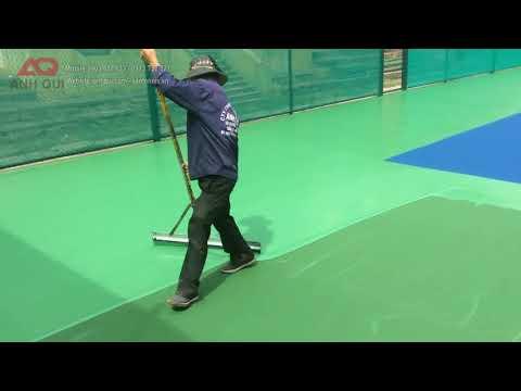 Quy trình sơn mặt sân tennis: lớp sơn Acrylic Color USA (Green - Blue)
