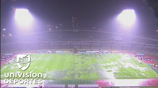 Así quedó la cancha del Olímpico Universitario por las intensas lluvias