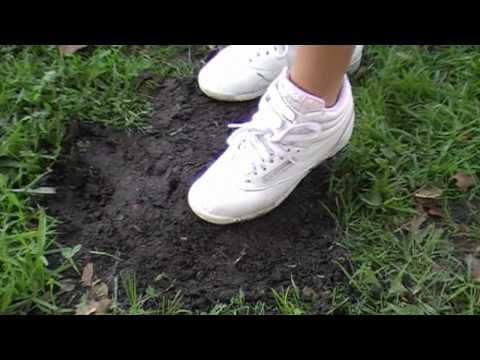 Reebok Freestyle - Wife's size 5, white reebok freestyles playing in the mud.