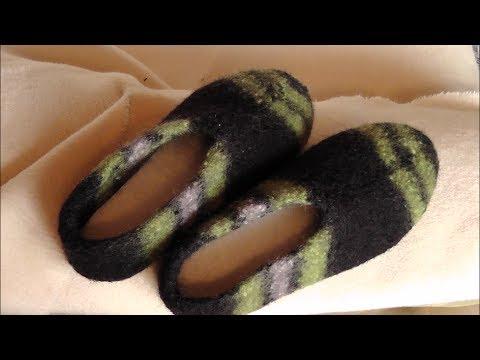 Hausschuhe aus Filzwolle stricken und filzen –  Teil 2