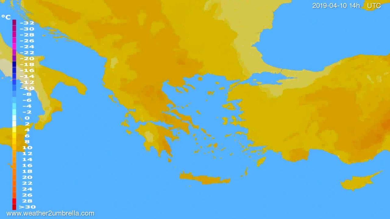 Temperature forecast Greece // modelrun: 00h UTC 2019-04-08