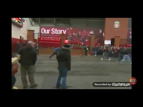 LIVERPOOL V ROMA ULTRA HOOLIGANS BELTS AND HAMMERS OUTSIDE ANFIELD #hooligans #lfc