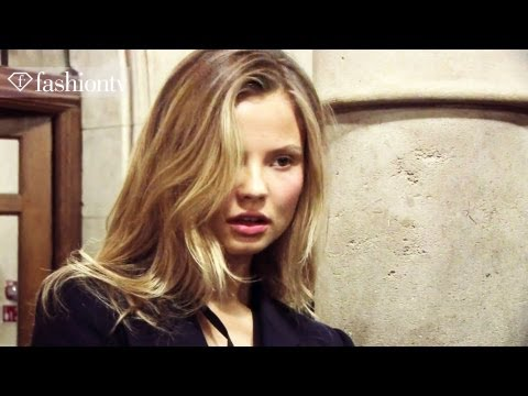 Daphne Groeneveld - http://www.FTV.com/videos LONDON - Models get their hair and makeup prepped for the Giles Women Spring 2012 Collection at London Fashion Week. Their cheeks a...