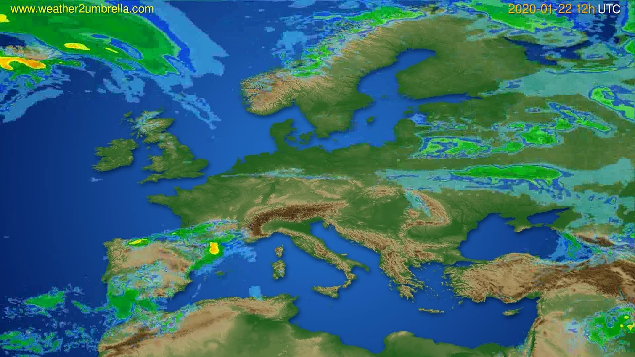 Radar forecast Europe // modelrun: 00h UTC 2020-01-22