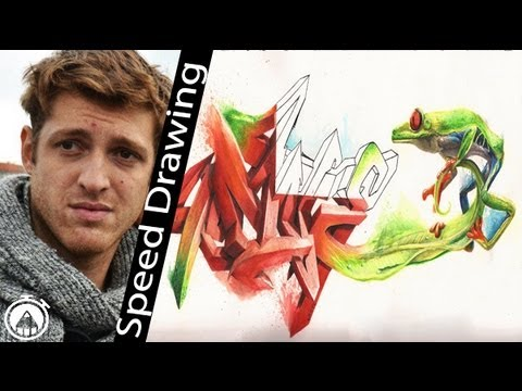 How to draw 3D Graffiti! 13 hours timelapse SPEED DRAWING with coloured pencils!
