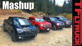 2017 Honda Ridgeline vs Toyota Tacoma vs GMC Canyon vs Nissan Frontier Mega Mashup Review by The Fast Lane Truck