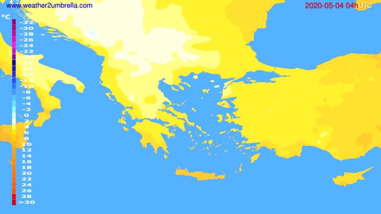 Temperature forecast Greece // modelrun: 12h UTC 2020-05-03