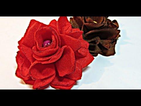 Como hacer rosas de fieltro. Felt roses.