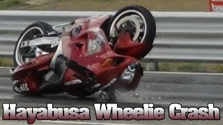 9. Suzuki Hayabusa wheelie crash video, Muncie Dragway 2012