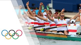 Germany win gold in the men's eight rowing event at the Eton Dorney as part of the London 2012 Olympic Games (1 August).