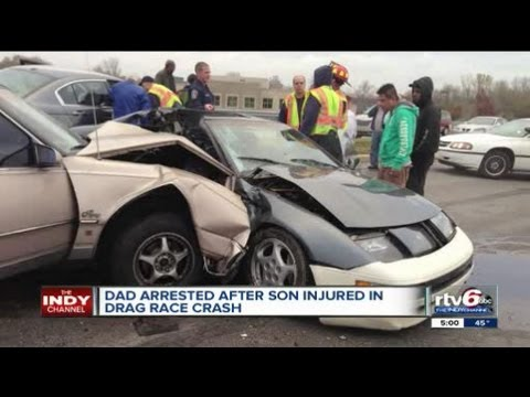 arrrested - An Indianapolis man faces neglect and other charges after police said his 2-year-old son was seriously injured when the man's car crashed during a drag race.
