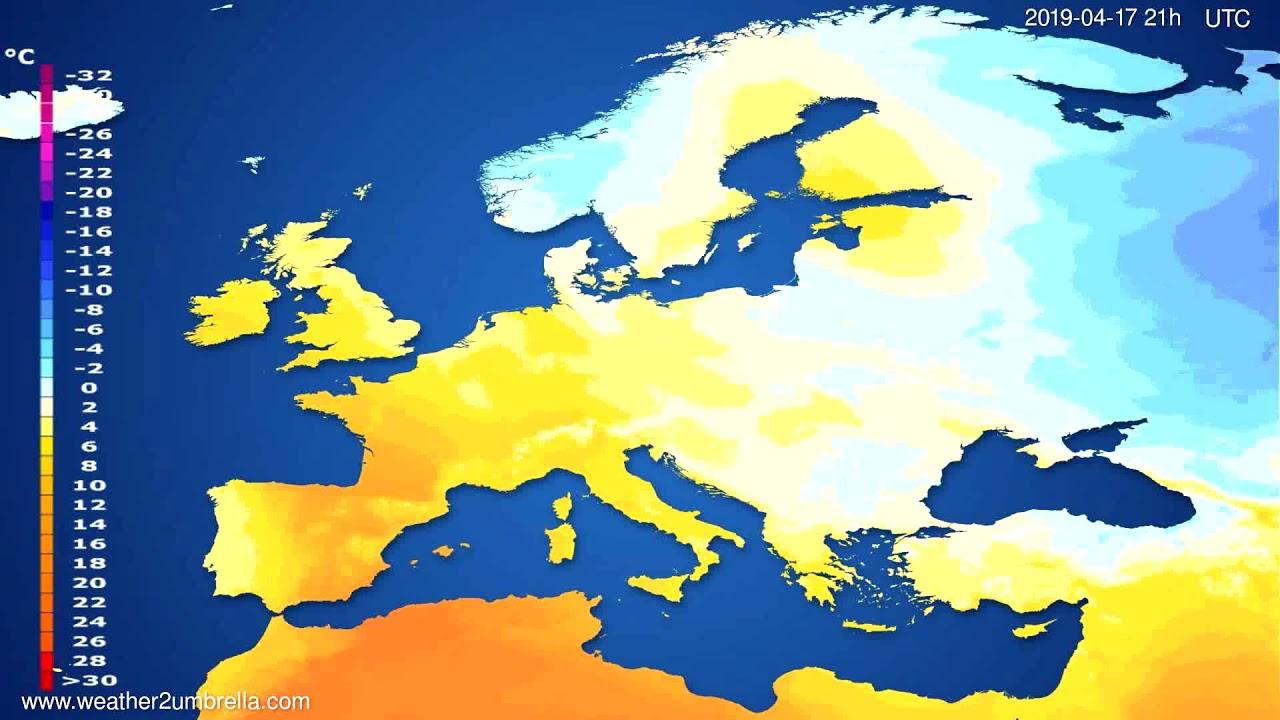 Temperature forecast Europe // modelrun: 00h UTC 2019-04-16