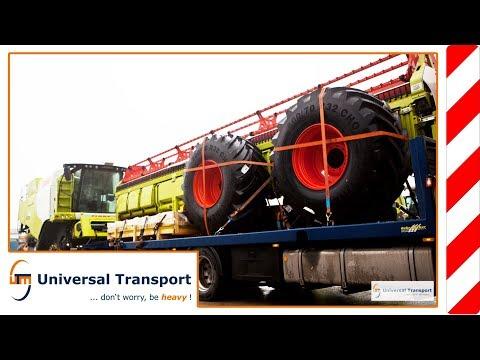 Universal Transport - Unloading Claas combine harvester with trailer онлайн видео